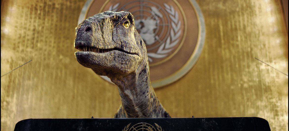 In breach of diplomatic protocol; 'don't choose extinction' dinosaur urges world leaders