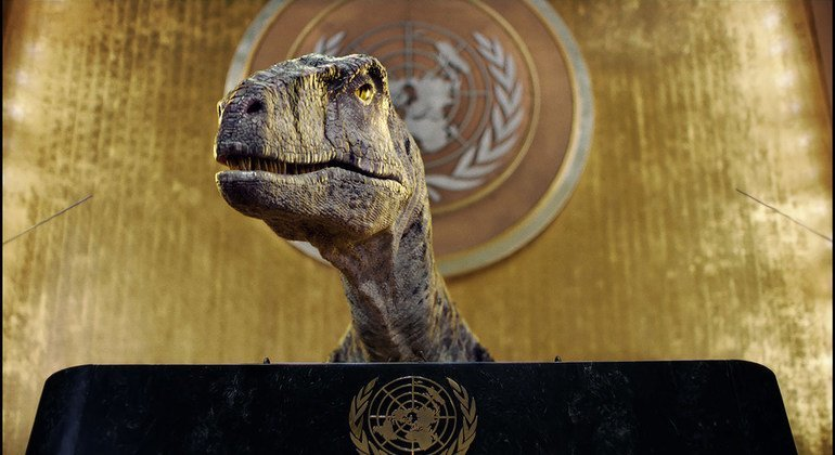 In breach of diplomaticprotocol;'don't choose extinction'dinosaur urges world leaders