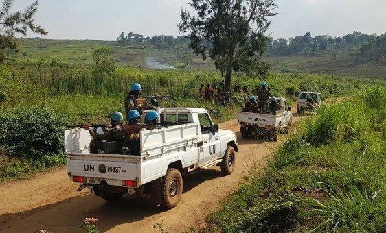 Tropas de paz da Missão das Nações Unidas na RD Congo, Monusco, patrulham Ituri.