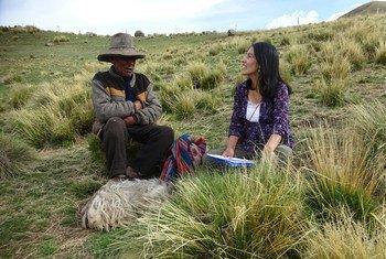 Roxana Quispe Collantes en la comunidad campesina de Ch'osecani, donde creció y aprendió su lengua originaria.