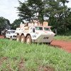 Peacekeepers from the UN mission in the CAR on patrol in Mbomou Prefecture. (file photo)