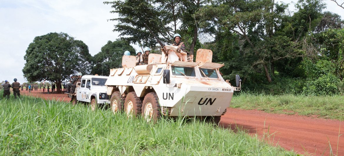 'Blue helmets' from the UN mission in the Central African Republic on patrol in Mbomou Prefecture. (file photo)