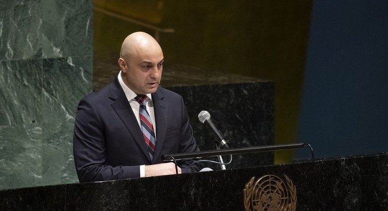 Dan Pavel Doghi, Senior Adviser on Roma and Sinti issues for the Organization for Security and Co-operation in Europe (OSCE), speaking at UN Holocaust Memorial Ceremony.