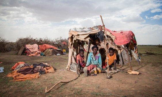 امرأة نازحة داخليا تجلس في خيمة مؤقتة مع أحفادها في منطقة واجالي في الصومال  أجبرت الأسرة على الانتقال من منطقة هارو شيخ بسبب الجفاف الشديد.