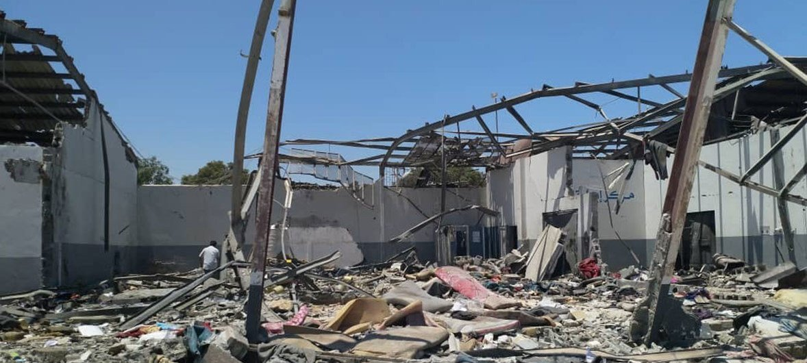 The aftermath of the devastating airstrike on the Tajoura Detention Centre, in the suburbs of the Libyan capital, Tripoli, on 2 July.