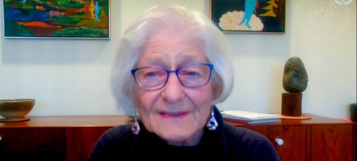 Holocaust Survivor Irene Butter addresses the virtual memorial ceremony and discussion marking the International Day of Commemoration in memory of the victims of the Holocaust.