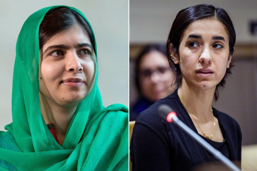 الناشطتان نادية مراد وملالا يوسفزاي.