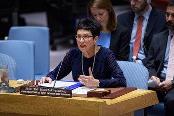 Ursula Mueller, Assistant Secretary-General for Humanitarian Affairs and Deputy Emergency Relief Coordinator in the Office for the Coordination of Humanitarian Affairs (OCHA), briefs the Security Council during a meeting on the situation in Syria.