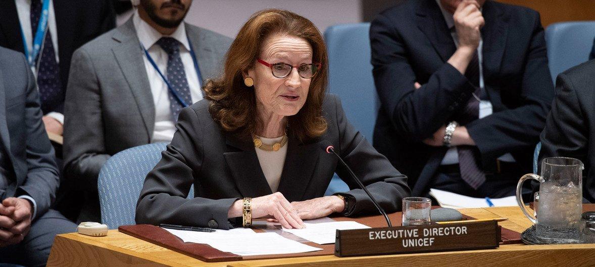 Chefe do Unicef, Henrietta Fore diretora diz que condenar esses crimes não é suficiente