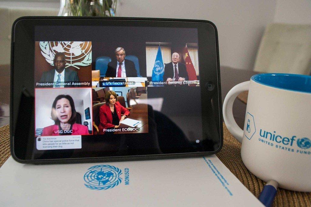 Photo : ONU/Quatre hauts dirigeants onusiens en visioconférence avec les Etats membres sur Covid-19.