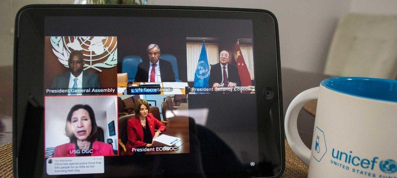联大主席、安理会主席、经社理事会主席和联合国秘书长通过网络连线形式向会员国通报了应对2019冠状病毒疫情工作