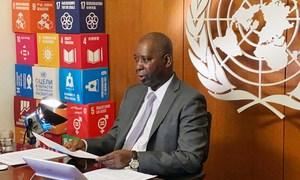 联合国大会主席蒂贾尼·穆罕默德·班迪参加了联合国会员国关于冠状病毒危机的远程简报会。
