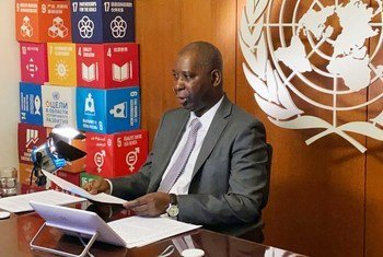 The President of the UN General Assembly, Tijjani Muhammad-Bande, takes part in a remote briefing to UN Member States on the coronavirus crisis.