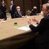 Генеральный секретарь ООН Анотониу Гутерриш в Женеве на встрече с лидером турков-киприотов Эрсином Татаром.