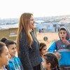 تم تعيين الإعلامية اللبنانية ريا أبي راشد، سفيرة للنوايا الحسنة في الشرق الأوسط وشمال أفريقيا لدى مفوضية شؤون اللاجئين. صورة من جولتها على مخيم الزعتري في الأردن
