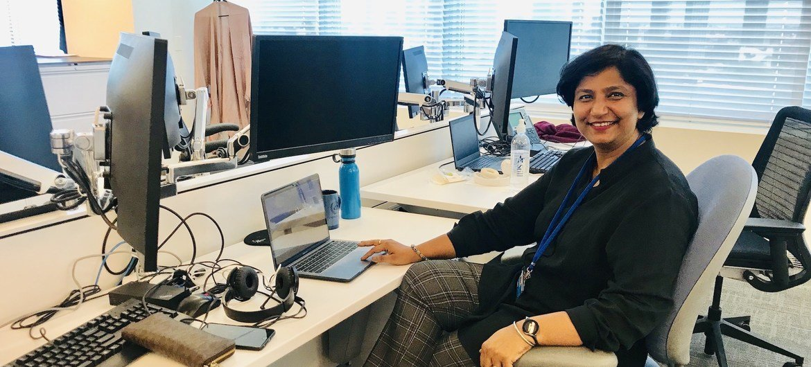 Anshu Sharma of UN News Hindi pictured on a pre-pandemic visit to UN Headquarters in New York.