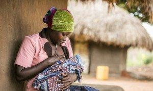 乌干达的一名年轻母亲正在哺乳。