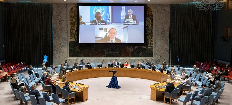 مجلس الأمن في جسلته حول الوضع في الشرق الأوسط، بما في ذلك قضية فلسطين.