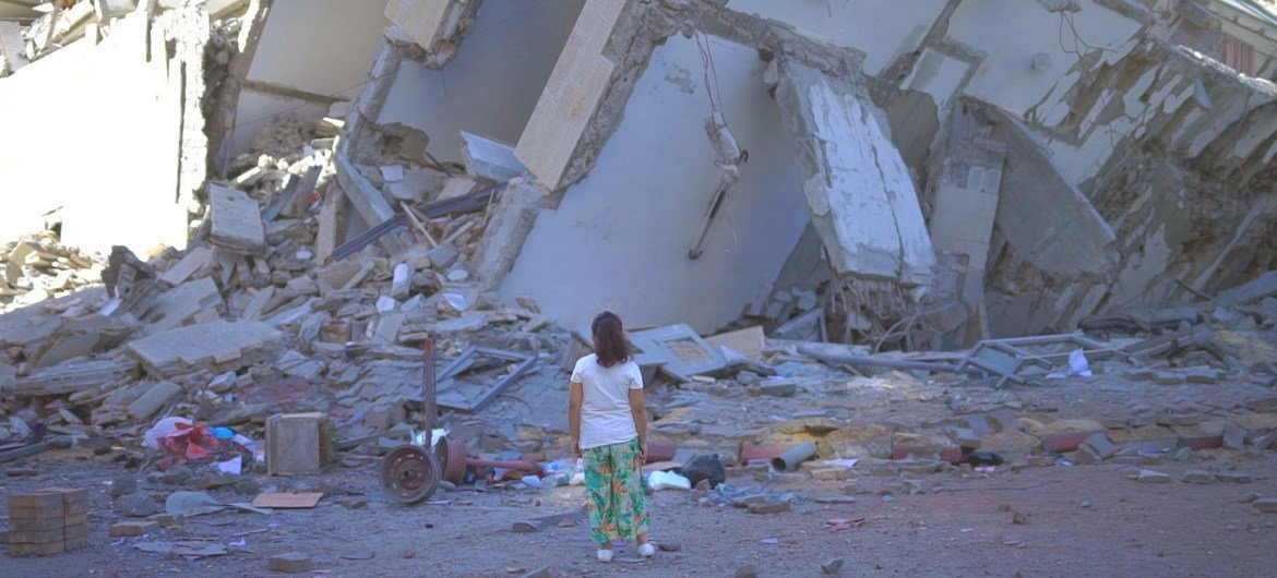 A destroyed building in Gaza City following a series of Israeli air attacks on the controlled Gaza Strip.