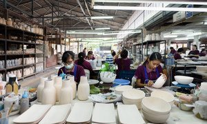 Women migrant workers in a ceramics factory in Chiang Mai, northern Thailand.