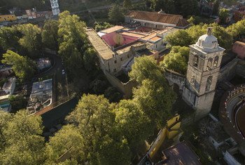 Conjunto franciscano del monasterio y la catedral de Nuestra Señora de la Asunción de Tlaxcala, México.