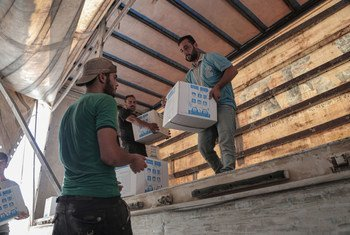 Aid provided by the United Nations is delivered to Syria from Turkey across the Bab El Hawa border crossing  in June 2020.