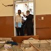 Audrey Azoulay, UNESCO's Director-General (left), visits a school in Beirut which was damaged by the explosion on August 4th.