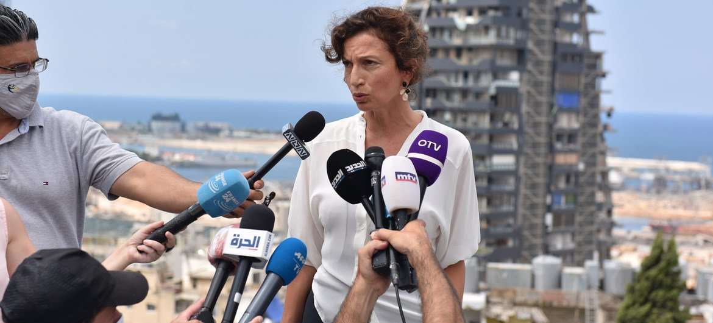 Audrey Azoulay, Directrice générale de l'UNESCO, s'entretient avec les médias lors de sa visite à Beyrouth en août 2020.