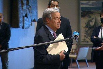 El Secretario General António Guterres habla con la prensa. (Foto de archivo)