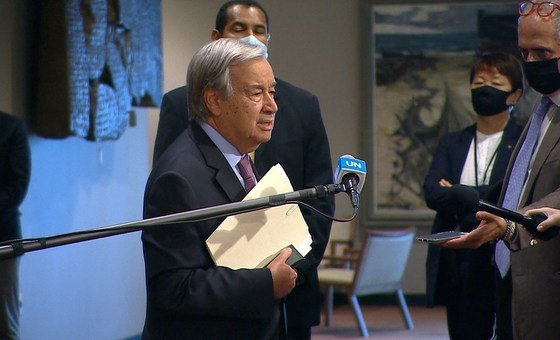 UN Secretary-General António Guterres speaking to reporters outside the Security Council, about the situation in Afghanistan.