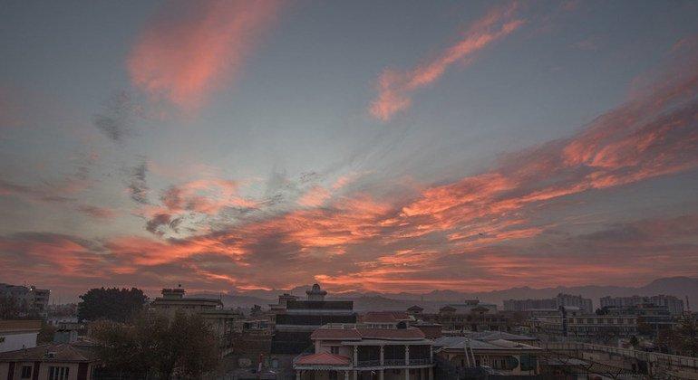 The sun sets on Kabul, Afghanistan.