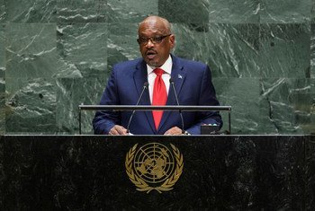 Hubert Alexander Minnis, Prime Minister of the Commonwealth of the Bahamas, addresses the 74th session of the United Nations General Assembly's General Debate. (27 September 2019)