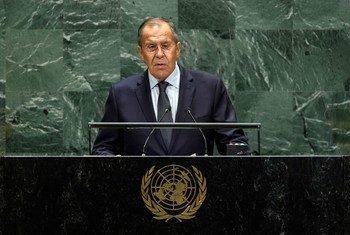 俄罗斯外长拉夫罗夫在联合国大会第74届会议一般性辩论期间发言。