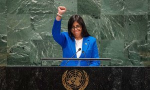 Delcy Rodriguez Gomez, Vice-President of the Bolivarian Republic of Venezuela, addresses the 74th session of the United Nations General Assembly's General Debate. (27 September 2019)
