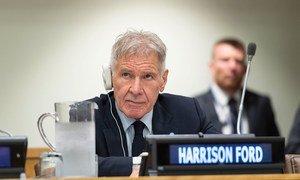 Harrison Ford, ator e ativista ambiental, participa do evento Alliance for Rainforests, reunião que aconteceu durante o Encontro de Cúpula de Ação Climática.