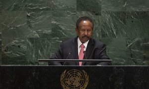 苏丹过渡政府总理阿卜杜拉·哈姆多克(Abdalla Hamdok)在大会第74届会议一般性辩论中讲话。