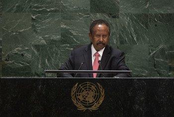 رئيس وزراء جمهورية السودان، الدكتور عبدالله حمدوك مخاطبا مداولات الدورة الرابعة والسبعين للجمعية العامة للأمم المتحدة