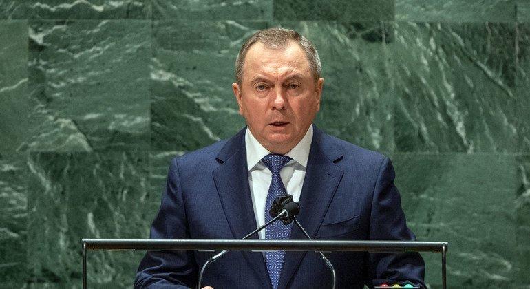Министр иностранных дел Беларуси Владимир Макей выступает перед делегатами 76-й сессии Генеральной Ассамблеи ООН