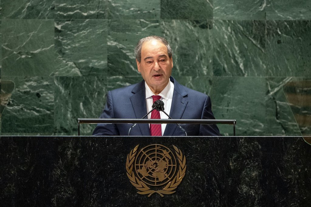 Foreign Minister Fayssal Mekdad of the Syrian Arab Republic addresses the general debate of the UN General Assembly's 76th session.