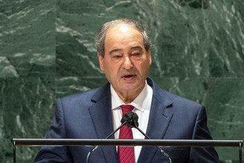 وزير الخارجية السوري، الدكتور فيصل المقداد، خلال كلمته في مداولات الدورة السادسة والسبعين للجمعية العامة.