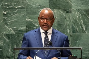 Foreign Minister Hassoumi Massoudou of Niger addresses the general debate of the UN General Assembly's 76th session.