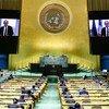 法国外交部长让-伊夫·勒德里昂在联合国大会第76届会议上发表视频讲话。
