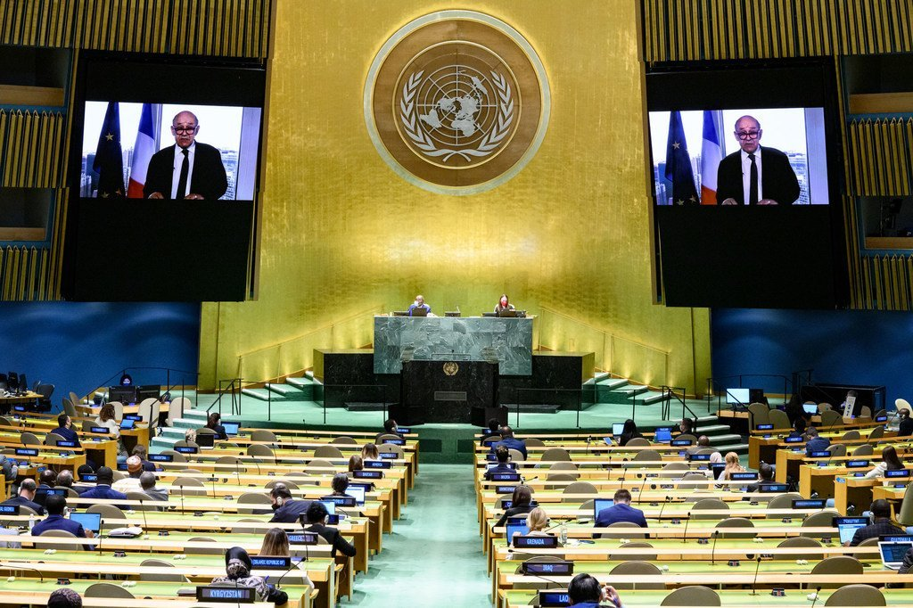 Le ministre français des Affaires étrangères, Jean-Yves Le Drian, au débat général de l'Assemblée générale des Nations Unies.