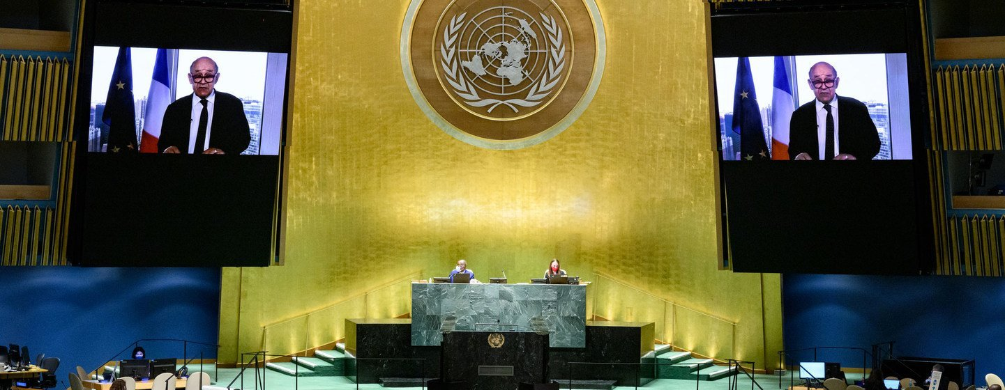 Foreign Minister Jean-Yves Le Drian of France addresses the general debate of the UN General Assembly's 76th session.