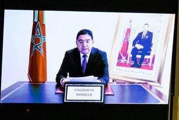 وزير الخارجية المغربي، السيد ناصر بوريطة خلال تقديم كلمة المغرب في مداولات الدورة الـ 76 للجمعية العامة للأمم المتحدة.