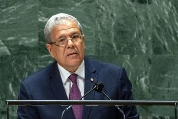 وزير الخارجية التونسي عثمان الجرندي يلقي كلمة في المناقشة العامة للدورة 76 للجمعية العامة للأمم المتحدة.