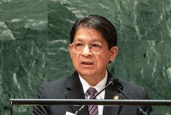 El ministro de Relaciones Exteriores de Nicaragua, Denis Moncada Colindres, se dirige a la Asamblea General durante el debate del 76 periodo de sesiones.