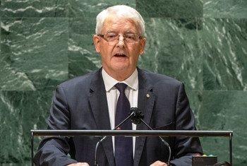 加拿大外交部长马克·加诺在联合国大会第 76 届会议的一般性辩论中发表讲话。