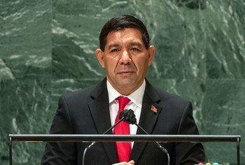 Representante permanente timorense junto às Nações Unidas, Karlito Nunes, na 76a Assembleia Geral