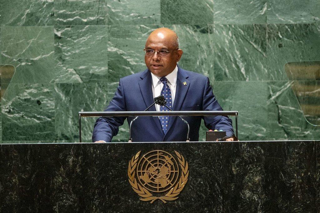 Rais wa UNGA76 Abdullah Shahid akifunga mjadala mkuu wa UNGA76 jijini New York, Marekani 27 Septemba 2021